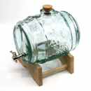 Glass Barrel 2 Liter with Brass-Tap & winedecor (Engraving possible)