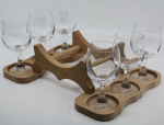 Stand with 6 wine glasses for barrels medium