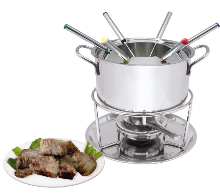 11er fondue set fondueset edelstahl fonduetopf fonduegabel service kochtopf inox ebay. Black Bedroom Furniture Sets. Home Design Ideas