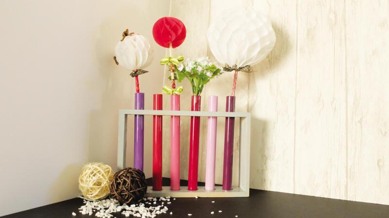 Reagenzgl ser glas deko blumenvase dekorieren holz st nder florero jarron flores ebay - Glaser dekorieren mit sand ...